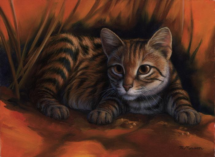 Black-footed cat painting by Rochelle Mason