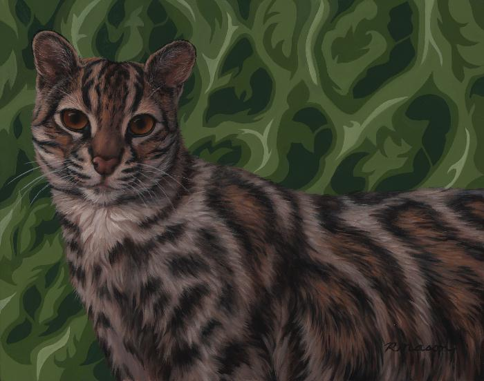 Marbled cat painting by Rochelle Mason